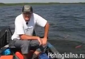 Рыбалка с лодки бортовыми удочками на Днепре