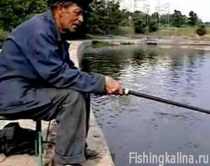 Пенсионер на московской рыбной ловле