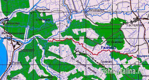 Рыбалка на реке Ржевка - карта